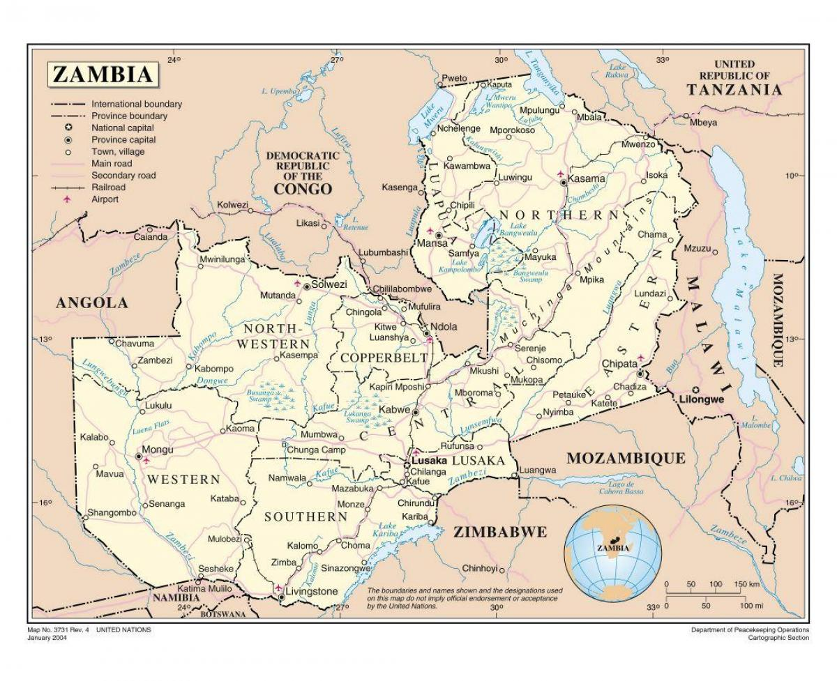 Putokaz Zambija Karta Cesta Zambi Istocna Afrika Afrika